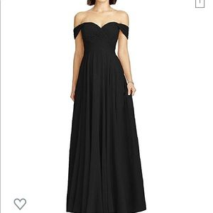 Off the shoulder chiffon black bridesmaid dress